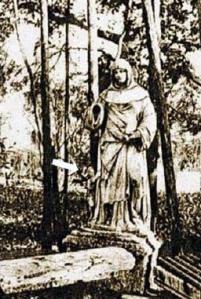 Estátua de Santa Marina, em Veneza, no jardim do seminário patriarcal, com seu suposto filho à sua direita.
