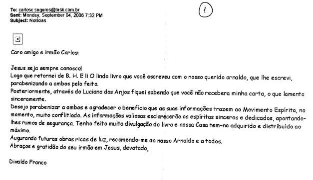 Email do Divaldo Franco sobre livro